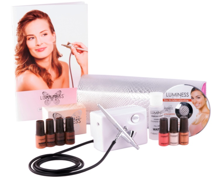 Art of Air Professional Airbrush Cosmetic Makeup System/Fair to Medium Shades 6pc Foundation Set with Blush, Bronzer, Shimmer and Primer Makeup Airbrush Kit.