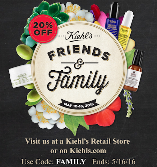 Kiehl's Friends and Family Spring 2016
